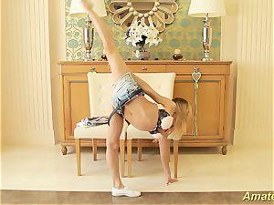 lovely nimble gymnast milking