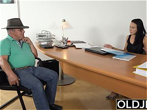 Caught grandpa Having hookup With teenager black-haired at job