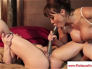 Ava Devine and Brandi May play with their girl-on-girl playthings
