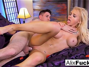 Alix Lynx strokes Brad's pecker with her fuckbox and gullet